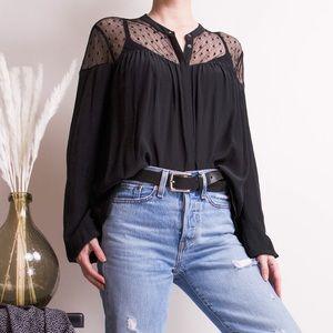 SALE Aritzia Wilfred silk black polka dot blouse